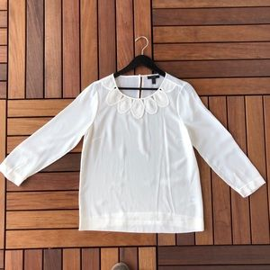 White 100% Silk J. Crew Blouse 2